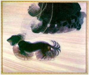 Abb. 4: Giacomo Balla: Dynamismus eines Hundes an der Leine. 1912, Öl/Lwd. 90,8 x 110 cm.